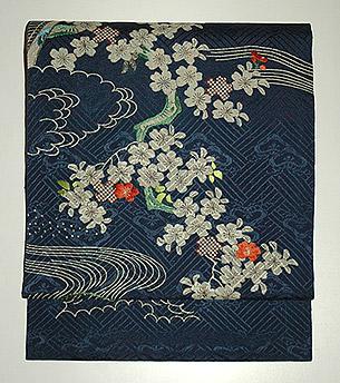 御簾に桜刺繍名古屋帯