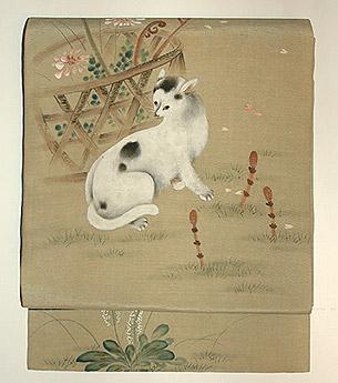 花籠に猫柄染名古屋帯