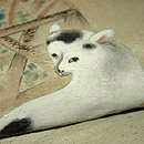 花籠に猫柄染名古屋帯 質感・風合
