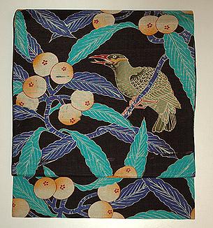 枇杷に鳥柄染名古屋帯