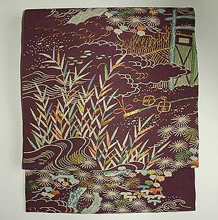 庭苑模様刺繍名古屋帯