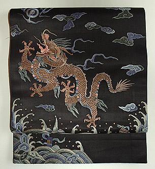 龍柄刺繍開名古屋帯