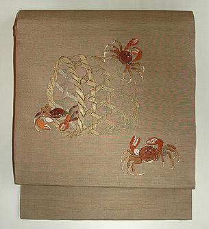 蟹柄刺繍名古屋帯