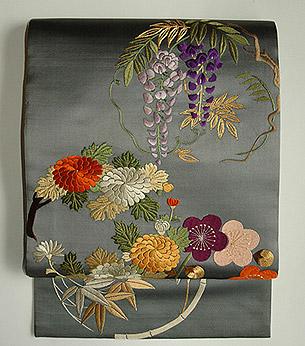 花丸模様刺繍開名古屋帯