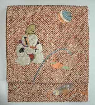 御所人形刺繍名古屋帯