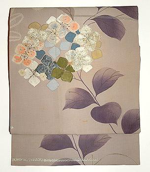 紫陽花柄染名古屋帯