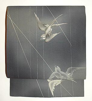 雨に燕柄染名古屋帯