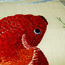 金魚刺繍名古屋帯 質感・風合