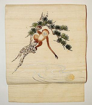 「猿猴月を捕る」名古屋帯