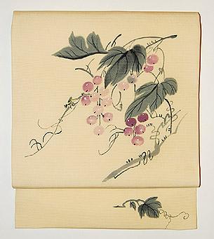葡萄に蜜蜂柄名古屋帯