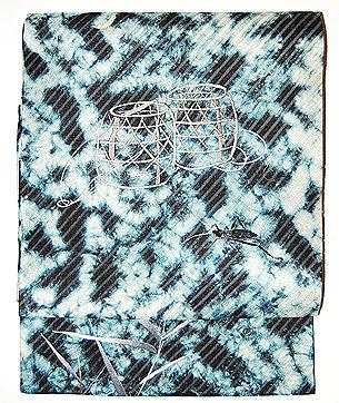 虫籠に月刺繍名古屋帯