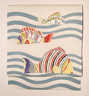 波に魚友禅名古屋帯