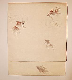 金魚柄絽名古屋帯