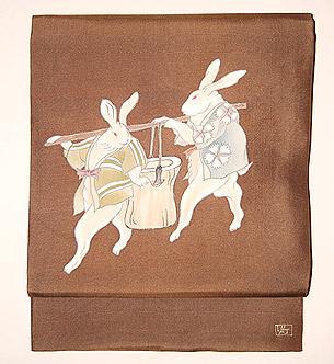兎の宴友禅名古屋帯