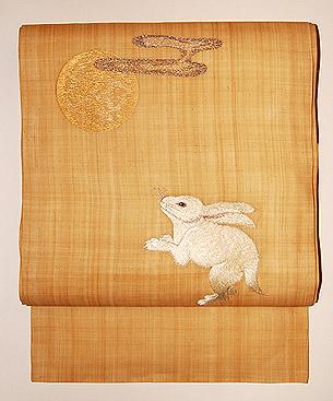 兎柄刺繍名古屋帯