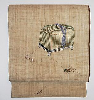 飛蝗と虫籠刺繍麻名古屋帯