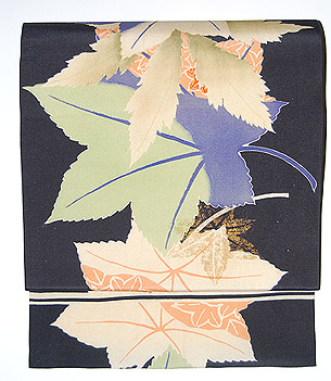 紅葉の図染名古屋帯