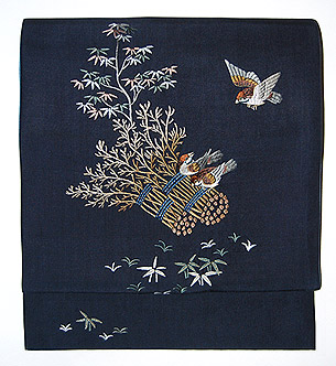 束ね木に雀刺繍名古屋帯