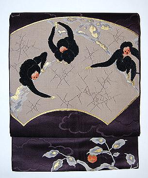 猿と柿の織名古屋帯