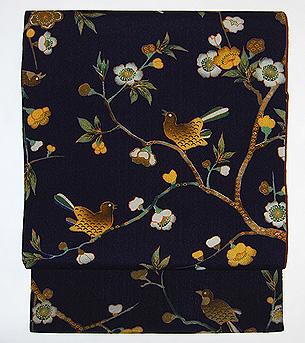 「桜に花喰い鳥」名古屋帯