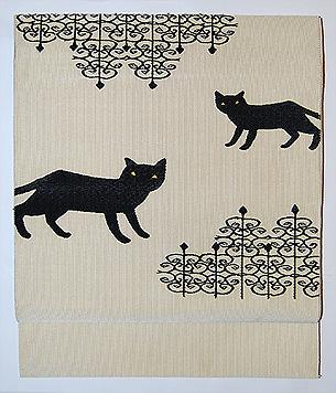 黒猫柄綴れ名古屋帯