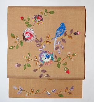 「薔薇と小鳥」名古屋帯