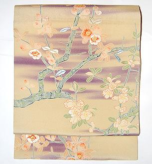 紫霞に桜名古屋帯