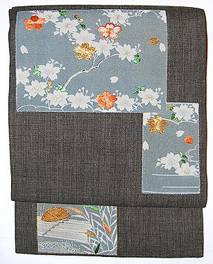 桜小袖の押し絵名古屋帯