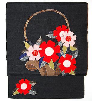 花籠に洋花のコラージュ名古屋帯