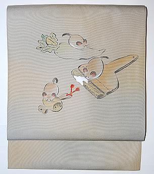 三匹の鼠の図名古屋帯
