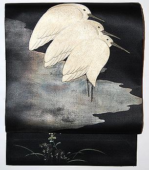 鷺の刺繍名古屋帯
