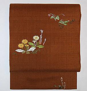 春の図刺繍帯