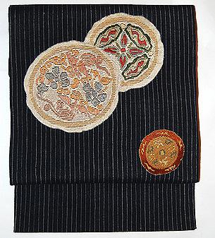 結城縮円紋絽刺し名古屋帯