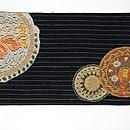 結城縮円紋絽刺し名古屋帯 前中心