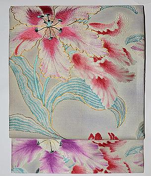 八重チューリップ織り名古屋帯