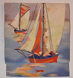 ヨットの図綴れ開き名古屋帯