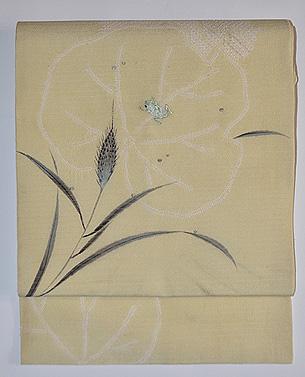 稲穂に蛙の刺繍の図名古屋帯