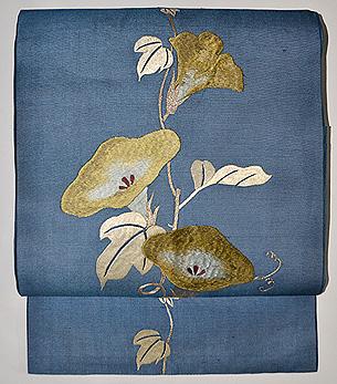 朝顔の刺繍名古屋帯