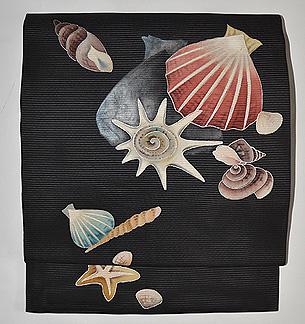 貝の図絽名古屋帯