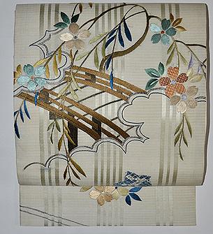 枝垂れ桜に橋立の図袋帯