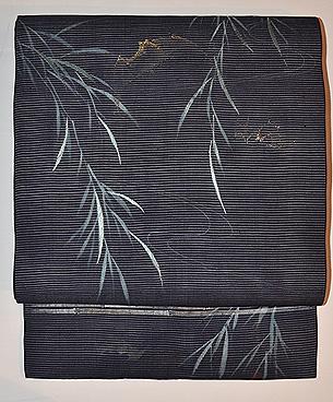 柳に蝙蝠の刺繍絽名古屋帯