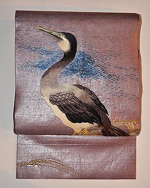 鵜の刺繍名古屋夏帯