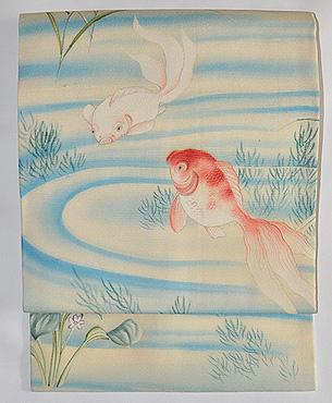 金魚の図染め絽縮緬帯