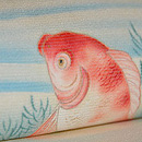 金魚の図染め絽縮緬帯 質感・風合
