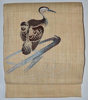 鵜の刺繍名古屋帯