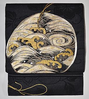 波頭の刺繍開き名古屋帯