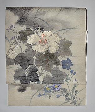 月夜に芙蓉の花の図名古屋夏帯