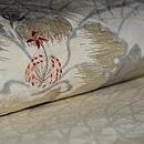 月夜に芙蓉の花の図名古屋夏帯 質感・風合
