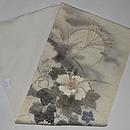 月夜に芙蓉の花の図名古屋夏帯 帯裏