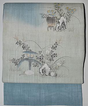 麻地庭の図小袖くずし名古屋帯